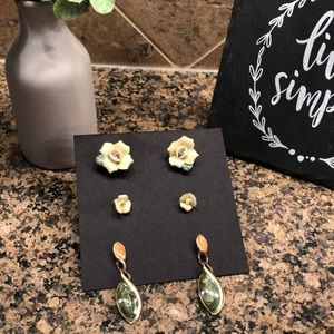 Set of 3 yellow/green rose and drop earrings